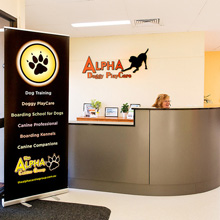 The Alpha Canine Group - reception signage